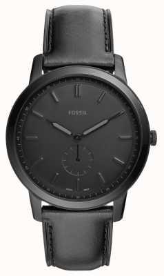 Fossil Mens het minimalistische zwarte leerriemhorloge FS5447
