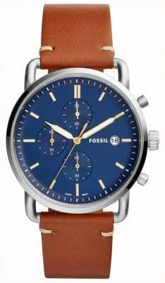 Fossil Herenhorloge forensenhorloge blauw chronograafbruin lederen band FS5401