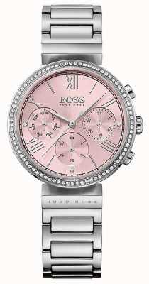 Hugo Boss Roze wijzerplaat van kristal met edelstaal ingelegde ring 1502401