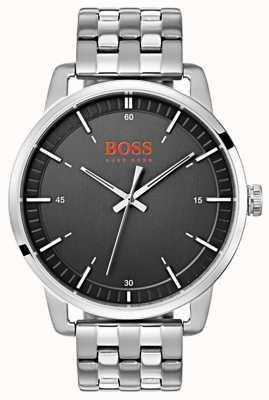Hugo Boss Orange Stockholm heren zwarte wijzerplaat zilveren roestvrij stalen armband 1550075