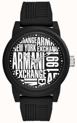 Armani Exchange Heren atlc   zwarte siliconen band   AX1443