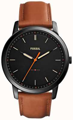 Fossil Mens de minimalistische 3 uur lederen band FS5305
