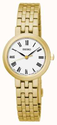 Seiko Heren quartz witte wijzerplaat Romeinse cijfers gele gouden armband SRZ464P1