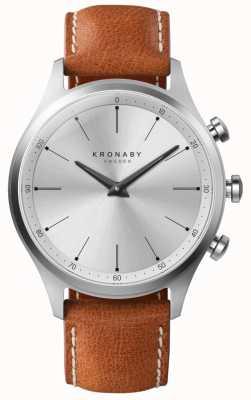 Kronaby 41 mm sekel zilveren wijzerplaat bruine lederen band a1000-3125 S3125/1