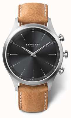 Kronaby 41 mm sekel zwarte wijzerplaat bruine lederen band a1000-3123 S3123/1