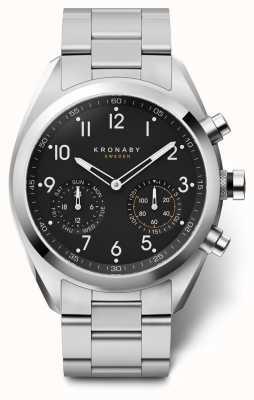Kronaby 43 mm top zwarte wijzerplaat roestvrij stalen armband a1000-3111 S3111/1