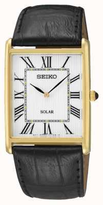 Seiko Mannen rechthoek wijzerplaat Romeinse cijfers gouden kast SUP880P1