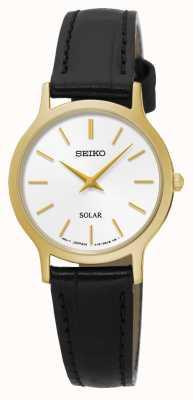 Seiko Zonne-witte wijzerplaat geel goud roestvrij staal zwart leer SUP300P1