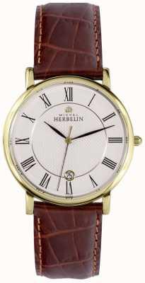 Michel Herbelin Klassieke datumweergave in goud edelstalen kast bruin leer 12248/P08MA