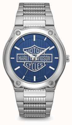 Harley Davidson Armband in roestvrij staal met blauwe wijzerplaat en logo 76A159