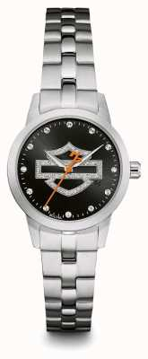 Harley Davidson Zwart logo kristal set wijzerplaat roestvrij stalen armband 76L182