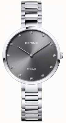 Bering Kristal gezet titanium grijs kastje en armband 11334-772