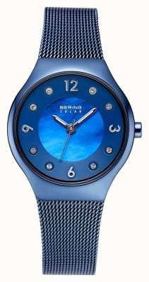 Bering Gepolijste blauwe wijzerplaat en blauwe kristalarmband 14427-393