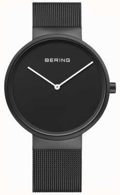 Bering Zwarte wijde zwarte ip-coated mesh armband voor heren 14539-122