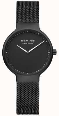 Bering Max. René zwarte matte wijzerplaat en zwarte geplateerde gaasband 15531-123