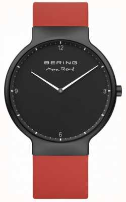 Bering Max rené zwarte ip plated rode siliconen band 15540-523