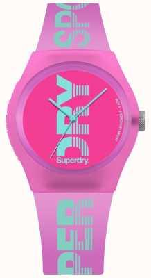 Superdry Roze roze cyaan-logoprint voor dames SYL189PN