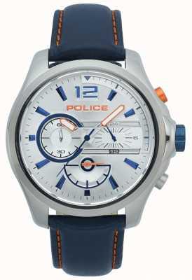 Police Leren heren lederen band met chronograaf in roestvrij staal 15403JS/04