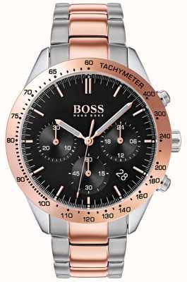 Hugo Boss Heren talent zwarte wijzerplaat rose goud & zilver two tone armband 1513584