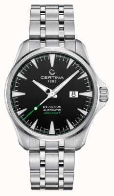 Certina Ds actie automatische grote datum zwarte wijzerplaat roestvrij staal C0324261105100
