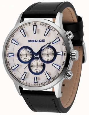 Police Mens momentum chronograph watch zwart lederen band 15000JS/04