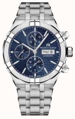 Maurice Lacroix Aikon automatisch chronograaf roestvrij stalen blauwe wijzerplaathorloge AI6038-SS002-430-1