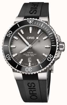 Oris Heren titanium aquis metalen armband grijze wijzerplaat 01 733 7730 7153-07 4 24 64TEB