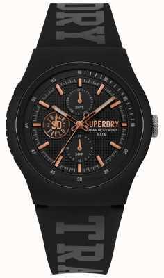 Superdry Urban xl zwarte siliconen riem SYG188BRG