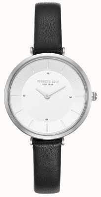 Kenneth Cole Dames diamant set roestvrij stalen kast bruin lederen horloge KC50306003