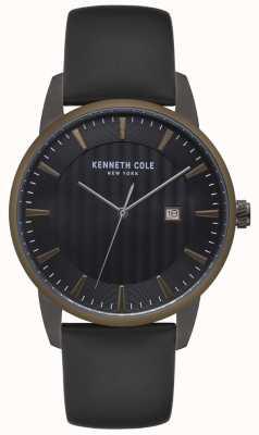 Kenneth Cole Heren roestvrij stalen kast blauw bezel zwart lederen horloge KC15204005