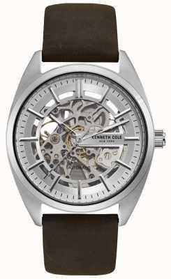 Kenneth Cole Heren skeleton wijzerplaat bruin lederen band horloge KC50064002