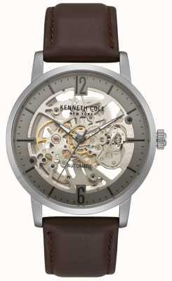 Kenneth Cole Heren skeleton wijzerplaat bruin lederen band horloge KC50054001