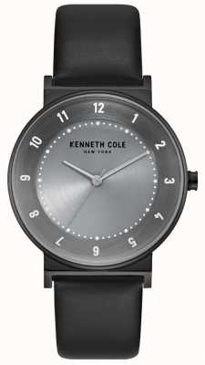Kenneth Cole Dames gunmetal etui met zwarte lederen band KC50074001