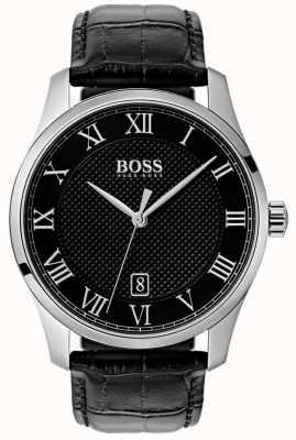 Hugo Boss Herenmodel zwarte wijzerplaat zwart lederen horloge 1513585