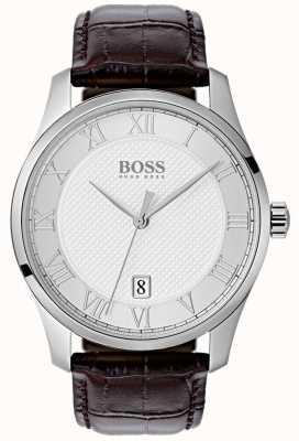 Hugo Boss Heren groot zilver wijzerplaat bruin lederen horloge 1513586