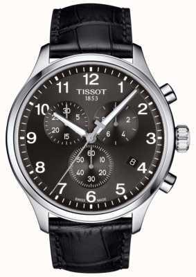 Tissot Heren t-sport xl chronograaf zwarte wijzerplaat lederen band T1166171605700