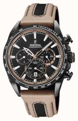 Festina Zwarte lederen chrono lederen horlogeband F20351/1