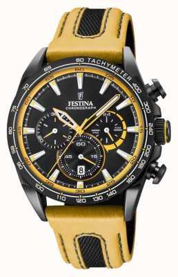Festina Zwarte lederen chrono lederen horlogeband F20351/4