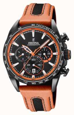 Festina Zwarte lederen chrono lederen horlogeband F20351/5