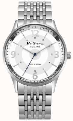 Ben Sherman Mensenscript witte wijzerplaat roestvrij stalen armband horloge BS001SM