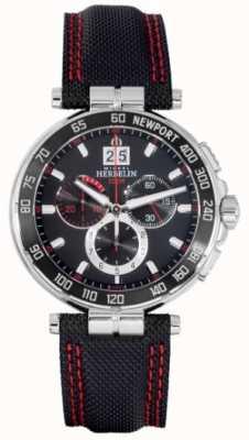 Michel Herbelin Newport chronograaf rode en zwarte wijzerplaat 36656/AN44