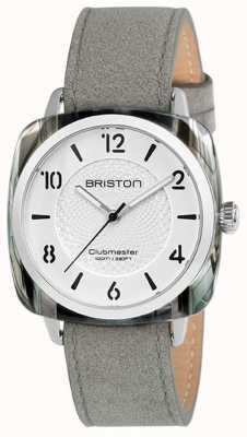 Briston Clubmaster dames chique grijze riem witte wijzerplaat 18536.SA.GRE.2G.LNG