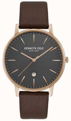 Kenneth Cole Heren rosegouden kast met grijze wijzerplaat bruin leer KC50009002