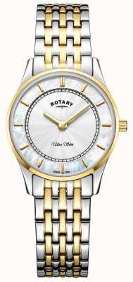 Rotary Womens ultra slanke tweetonige armband moeder van peal dial LB08301/41