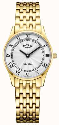 Rotary Womens ultra dunne gouden tone armband witte wijzerplaat LB08303/01