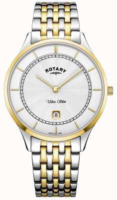 Rotary Heren ultradun witte wijzerplaat gouden kast roestvrij stalen horloge GB08301/02