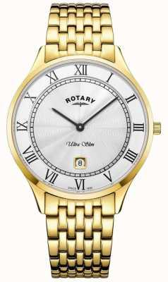 Rotary Heren ultradun witte wijzerplaat goudkleurig roestvrij stalen horloge GB08303/01