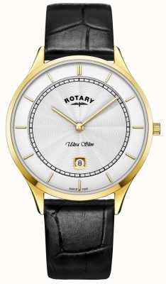 Rotary Heren ultra slank zwart lederen bandhorloge GS08303/02