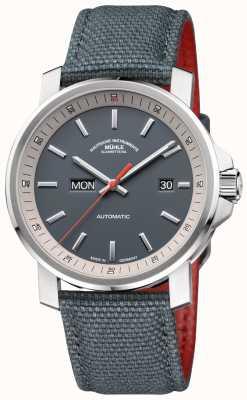 Muhle Glashutte Het 29er tag datum roestvrij stalen grijze horloge M1-25-34-NB