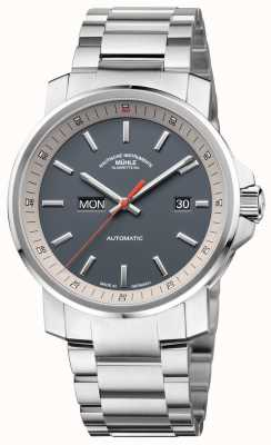 Muhle Glashutte De 29er tag datum roestvrij stalen armband grijze wijzerplaathorloge M1-25-34-MB